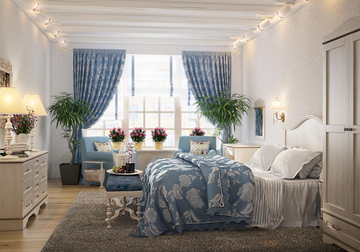 Большое окно в спальне в стиле прованс