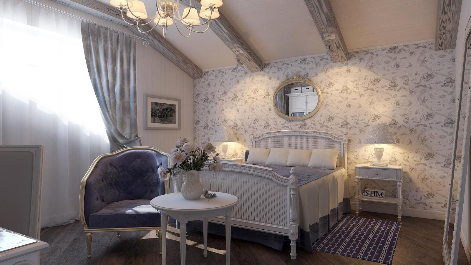 Спальня в стиле прованс с балками