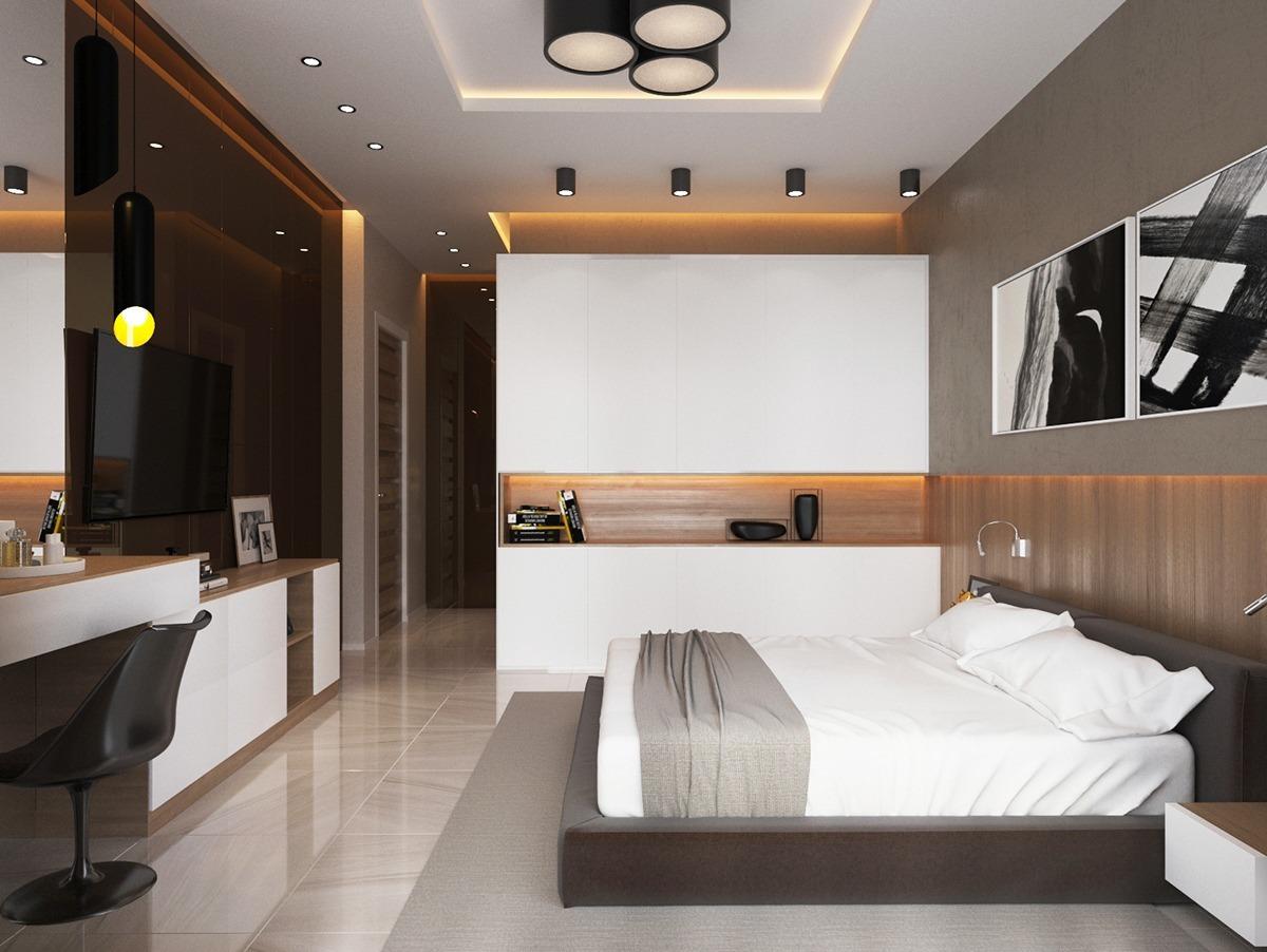 Спальня в сдержанных тонах с кабинетом