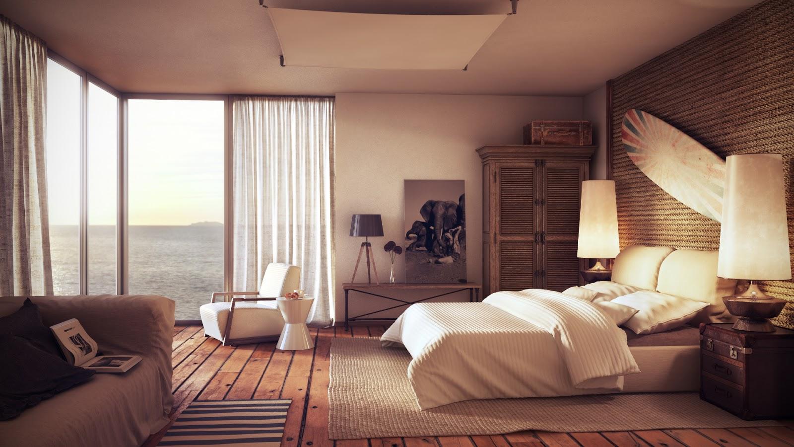 Просторная современная спальня в спокойных тонах