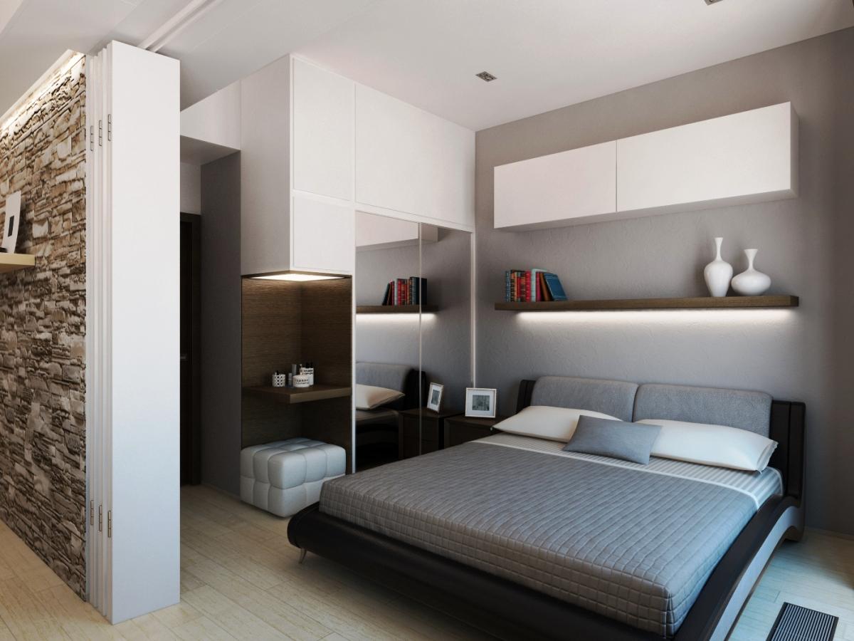 Бело-серая спальня в современном стиле