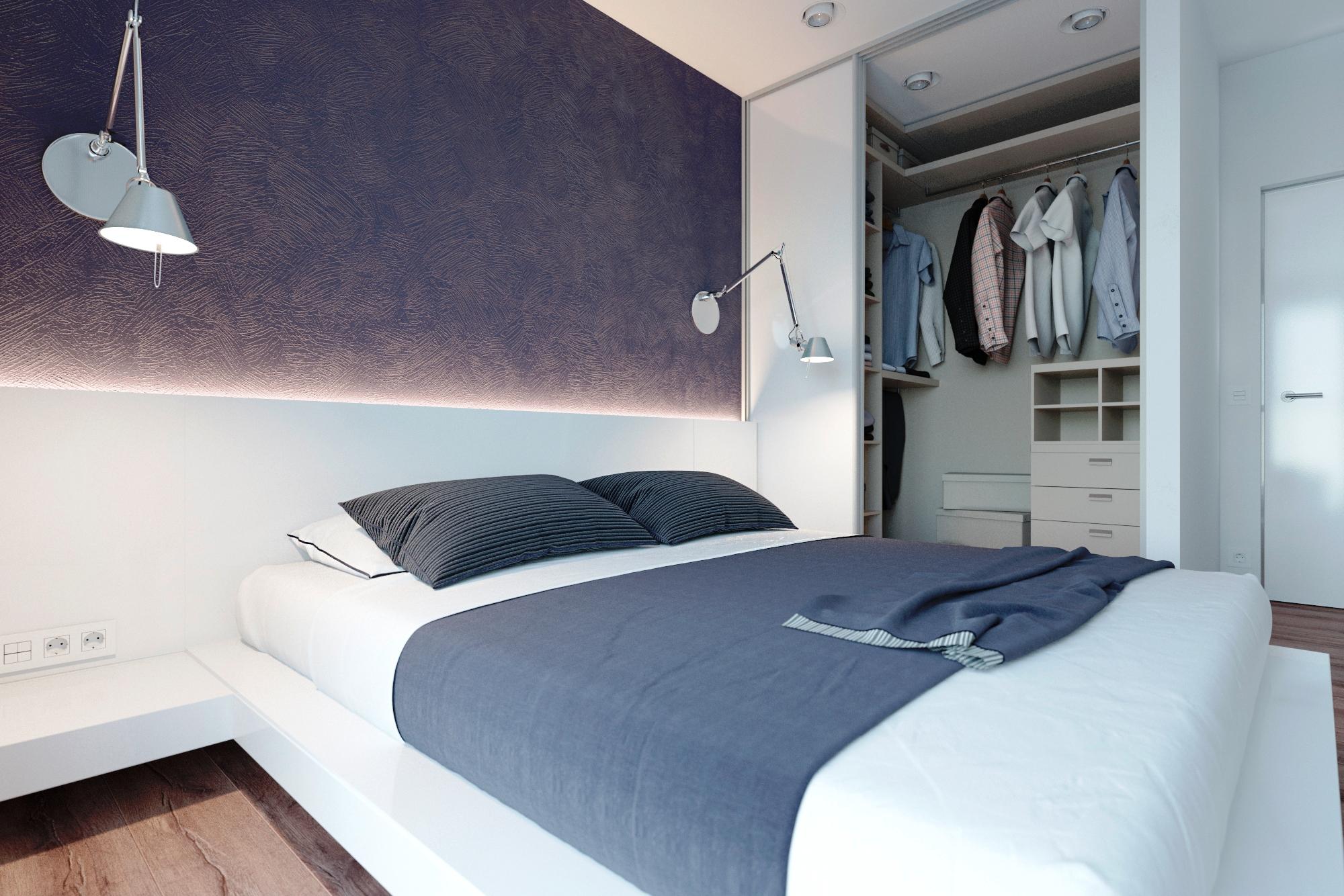 Современная сине-белая спальня