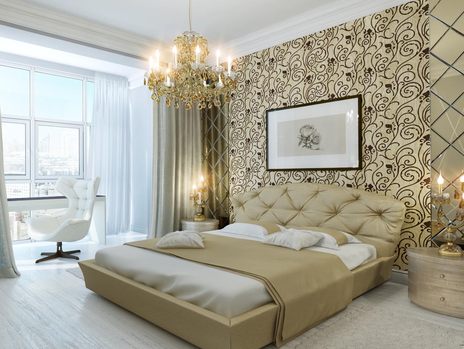 Кремово-белая современная спальня с зеркальными панелями