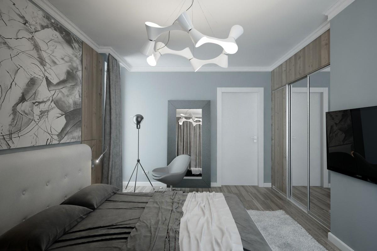 Серый, белый и голубой цвета в интерьере современной спальни