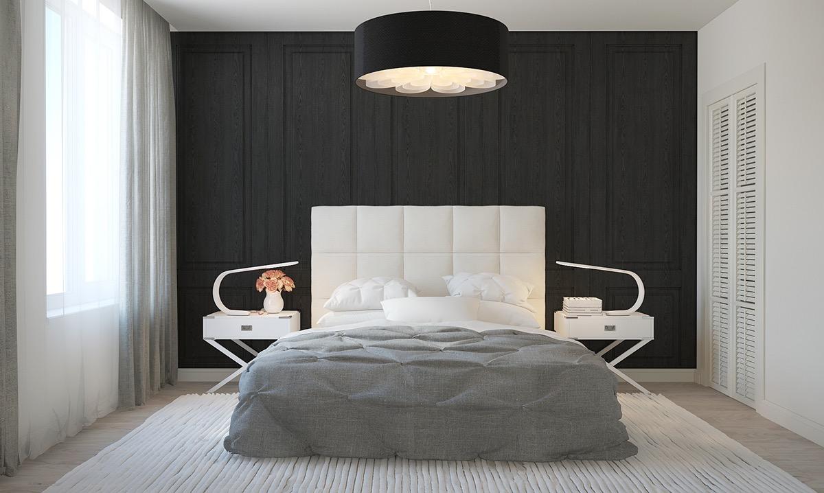 Черно-белая просторная спальня в стиле минимализм