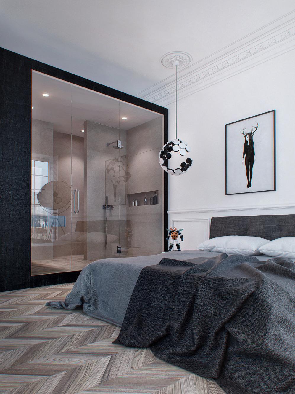Спальня с душем в минималистичном стиле