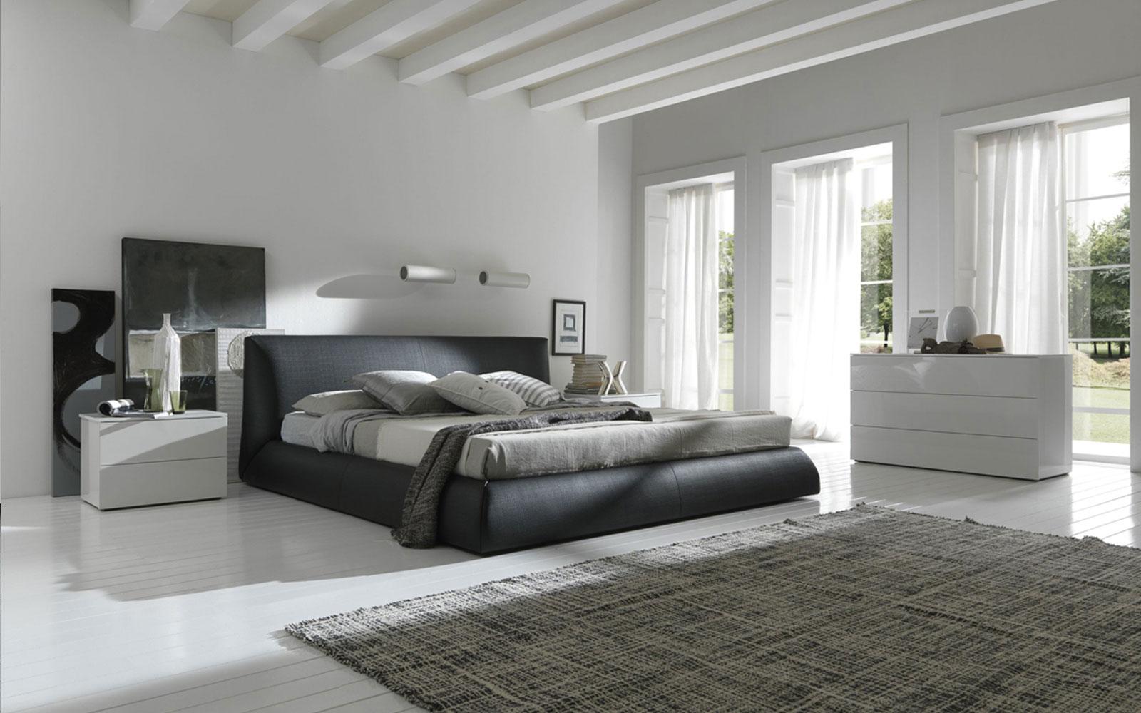 Черный, серый и белый цвета в спальне в стиле минимализм