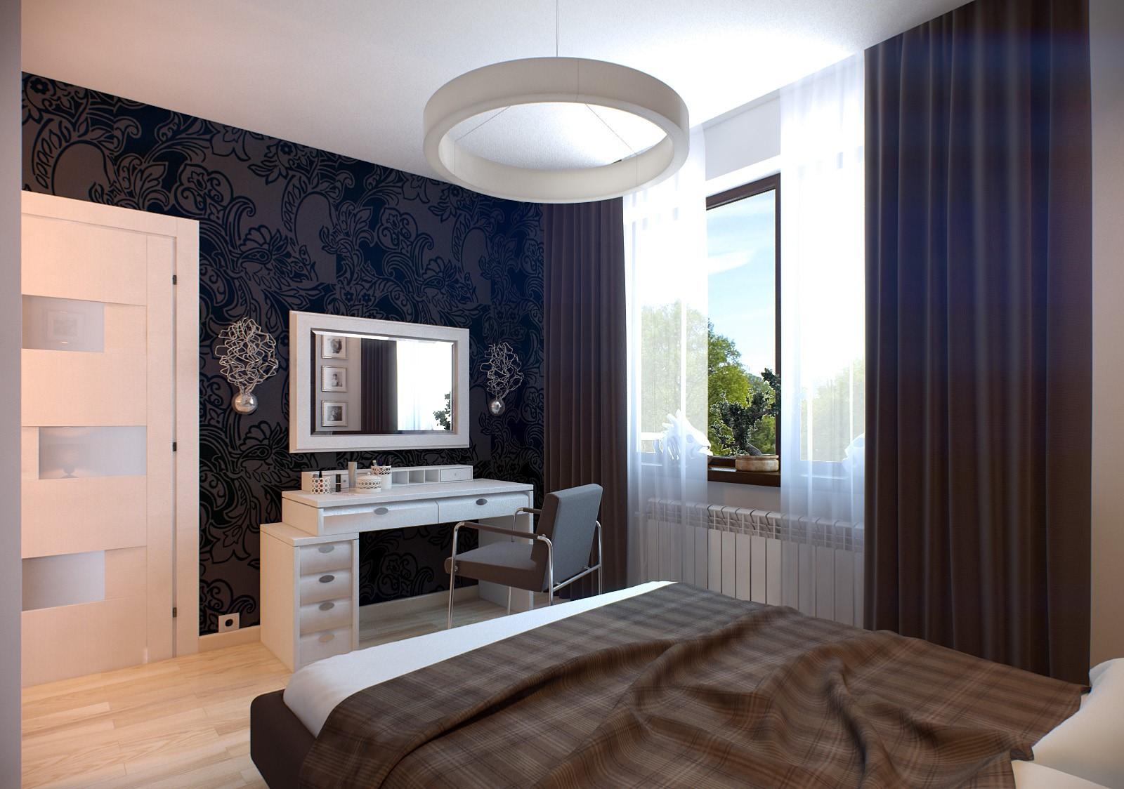 Современная спальня в стиле минимализм с туалетным столиком