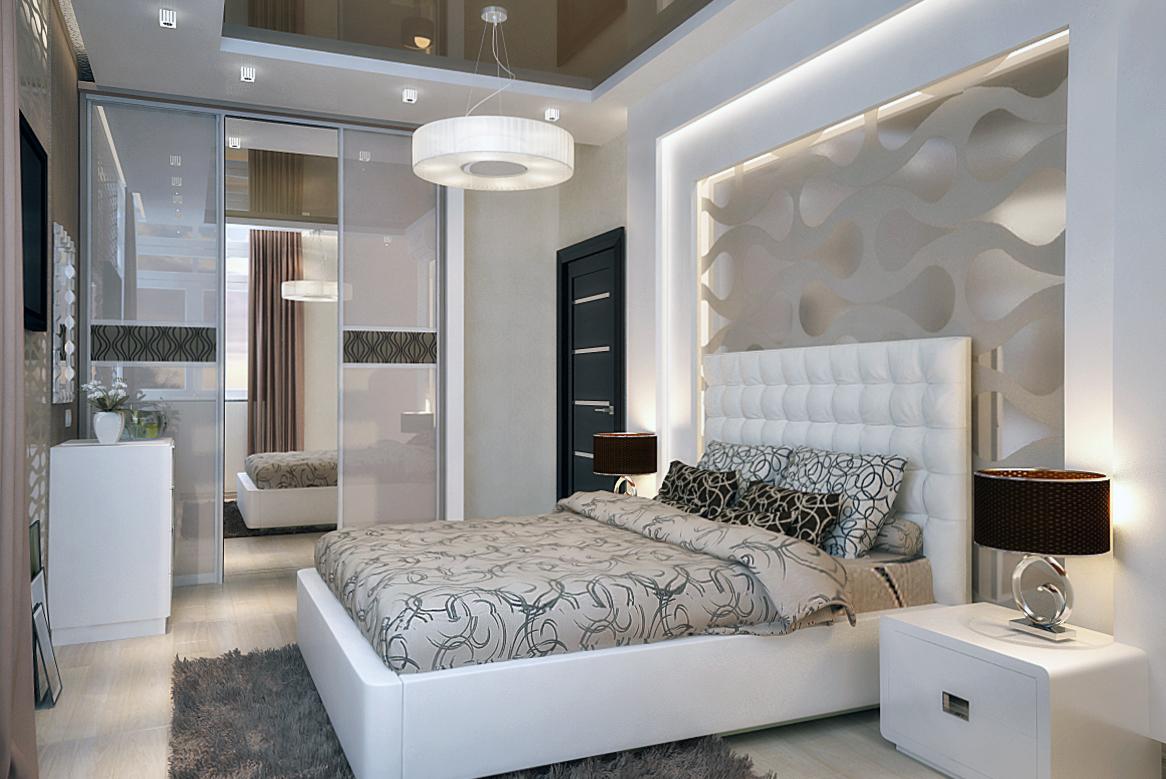 Красивая светлая спальня в стиле модерн