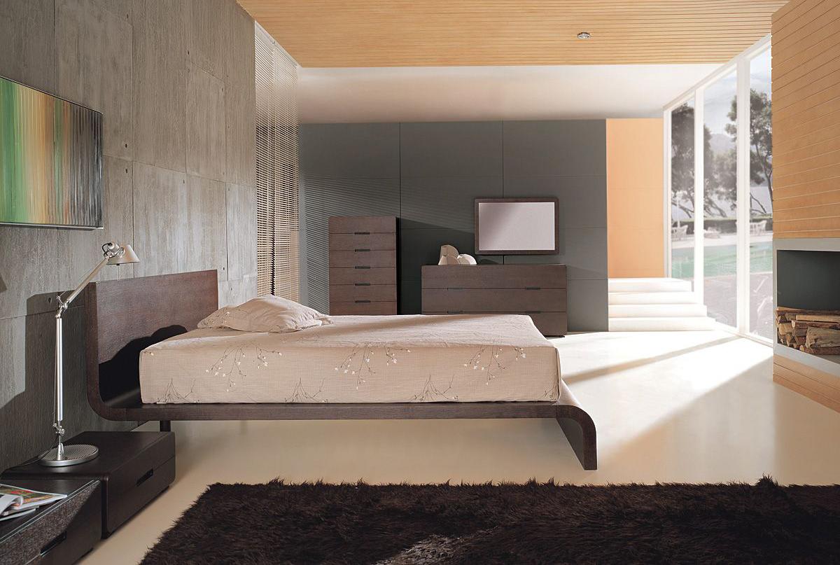 Деревянный потолок в спальне в стиле модерн