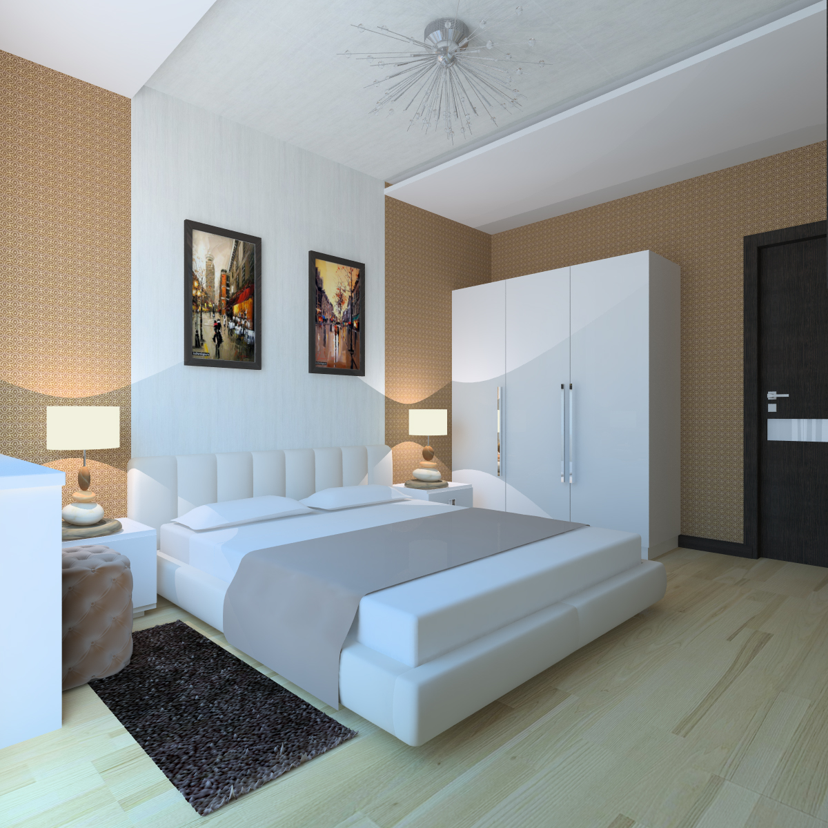 Бело-бежевая спальня в стиле модерн