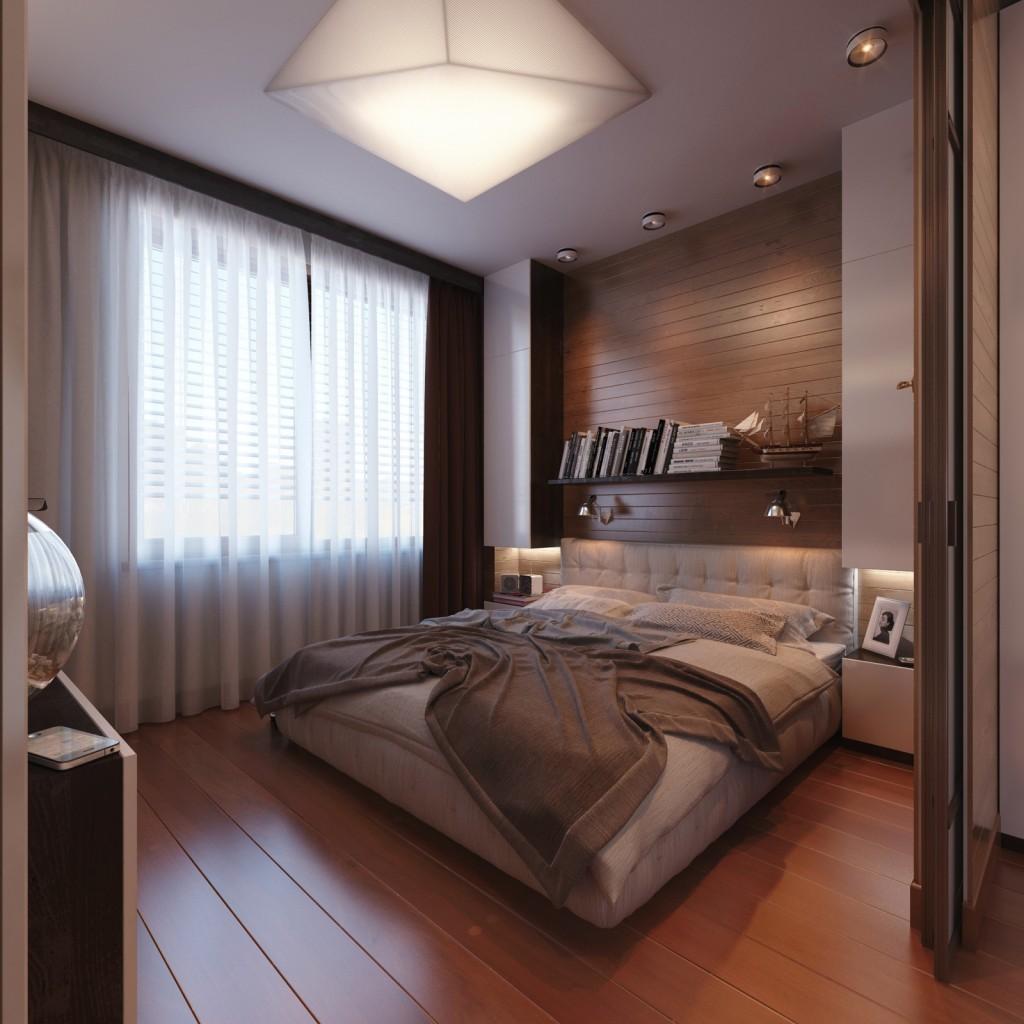 Небольшая уютная коричневая спальня в стиле модерн