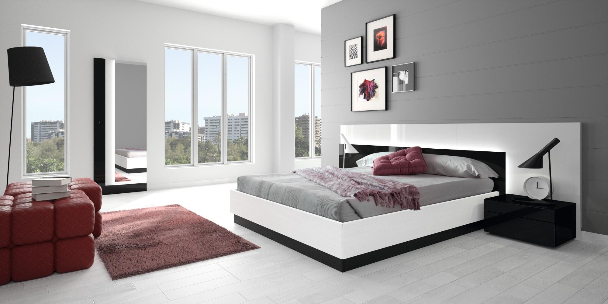 Серо-белая спальня с красными акцентами в стиле модерн