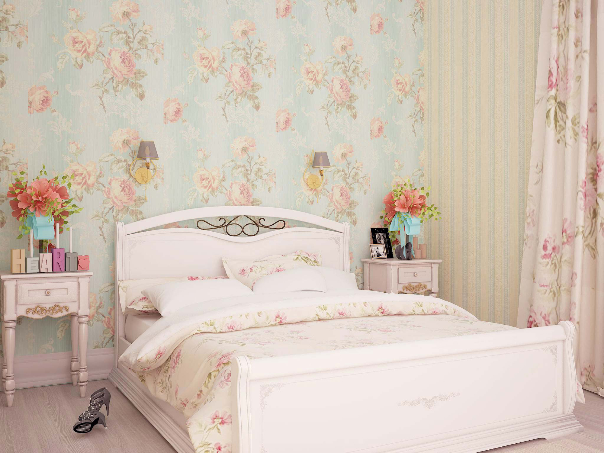 Спальня с цветочными обоями в стиле шебби-шик