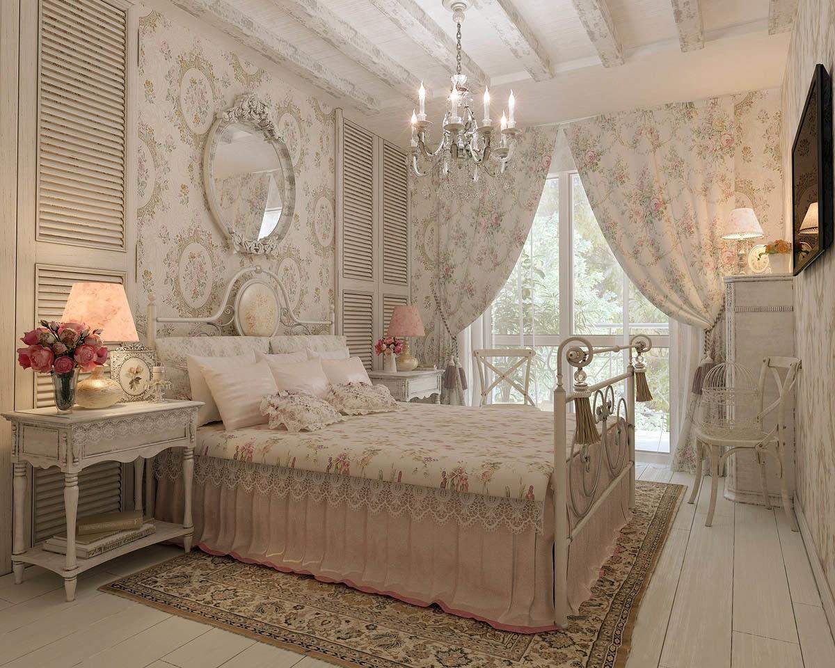 Стильная спальня с ковром в стиле шебби-шик