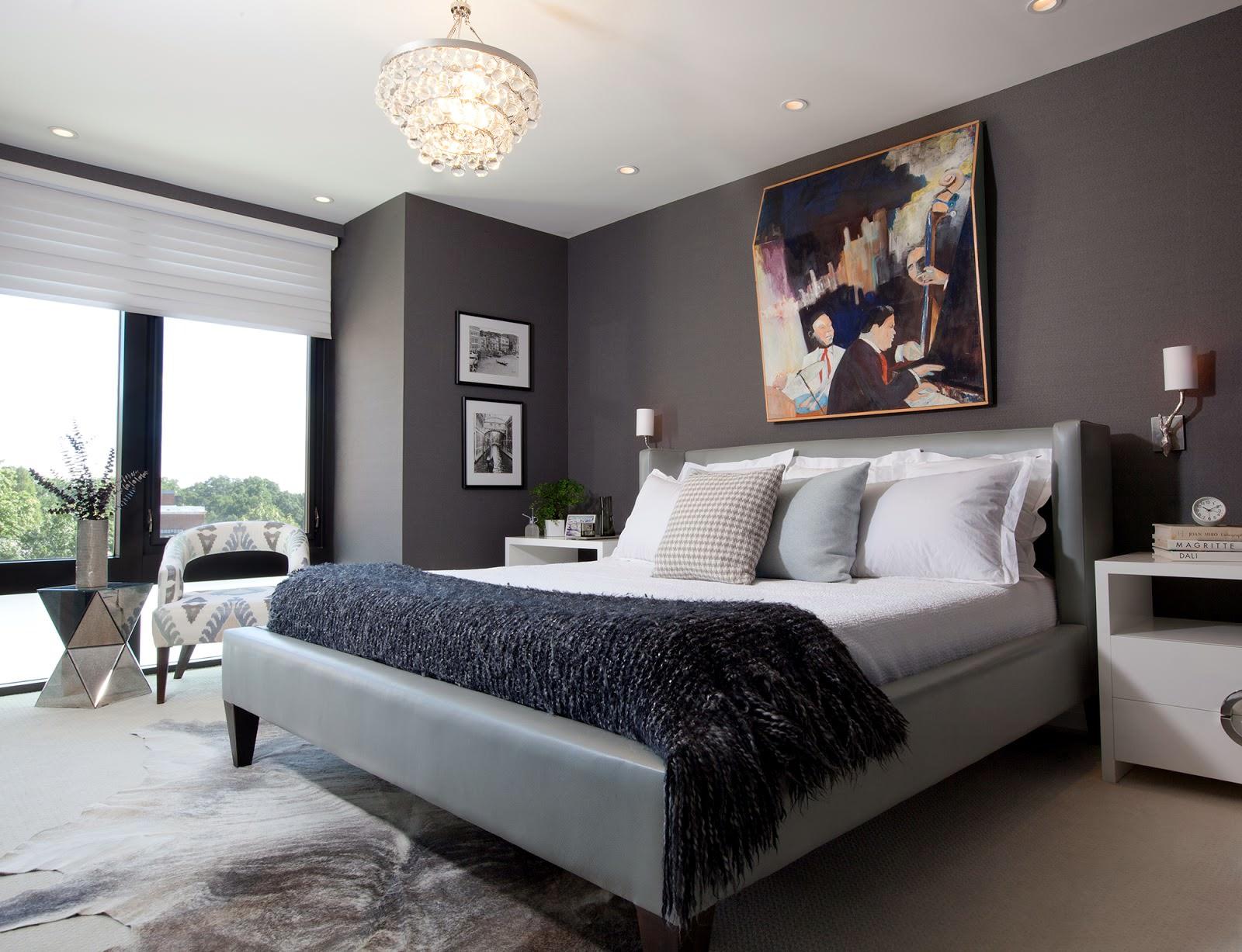 Бело-серая стильная спальня хай-тек