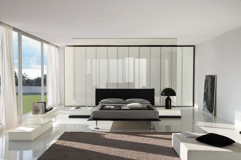 Черно-белая спальня в стиле хай-тек