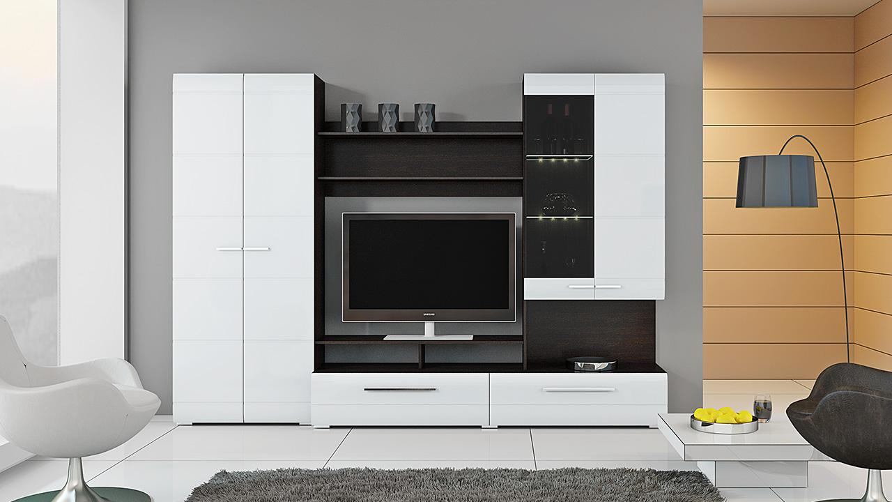 Стильная черно-белая стенка в гостиной