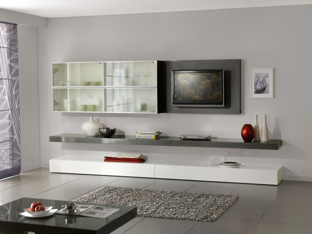 Серо-белая модульная стенка в гостиной