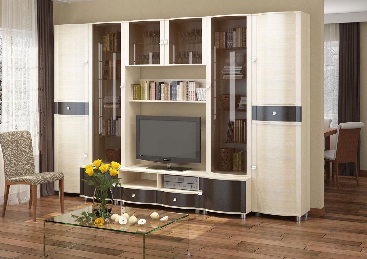 Классическая бежево-коричневая стенка в гостиной