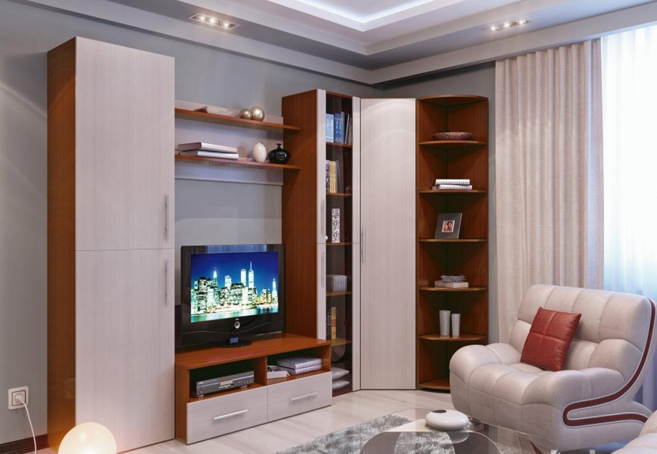 Угловая стенка в современной гостиной
