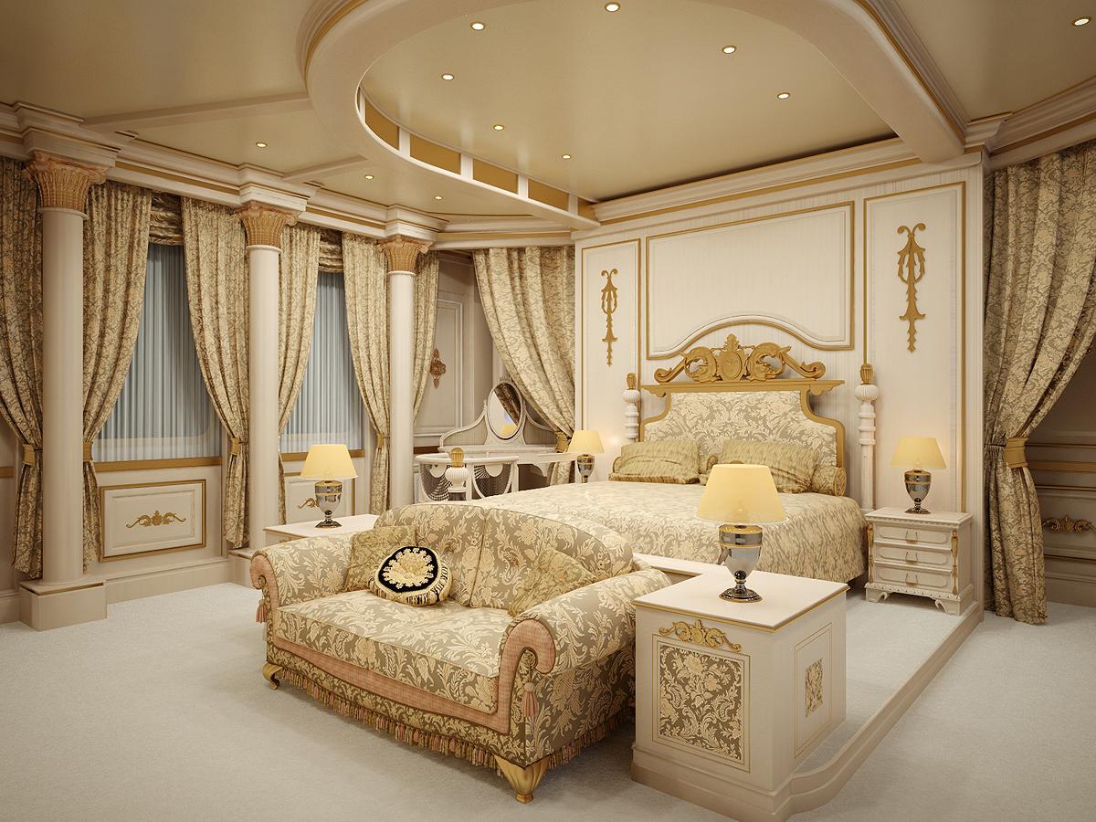 Бежевый пол в спальне в стиле ампир