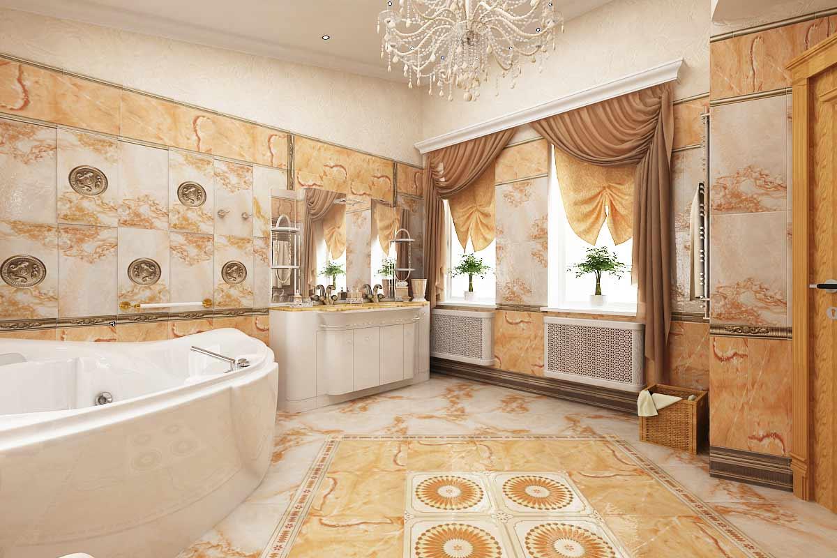 Небольшие окна в ванной комнате в стиле ампир