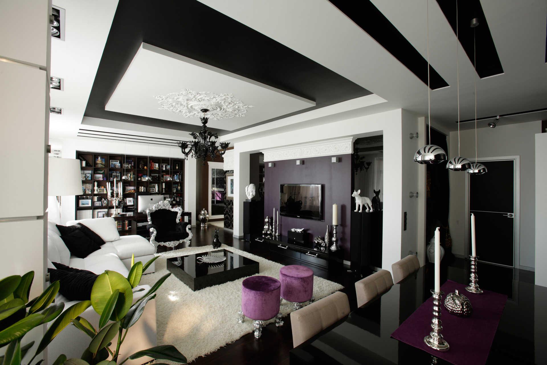 Просторная гостиная в стиле фьюжн