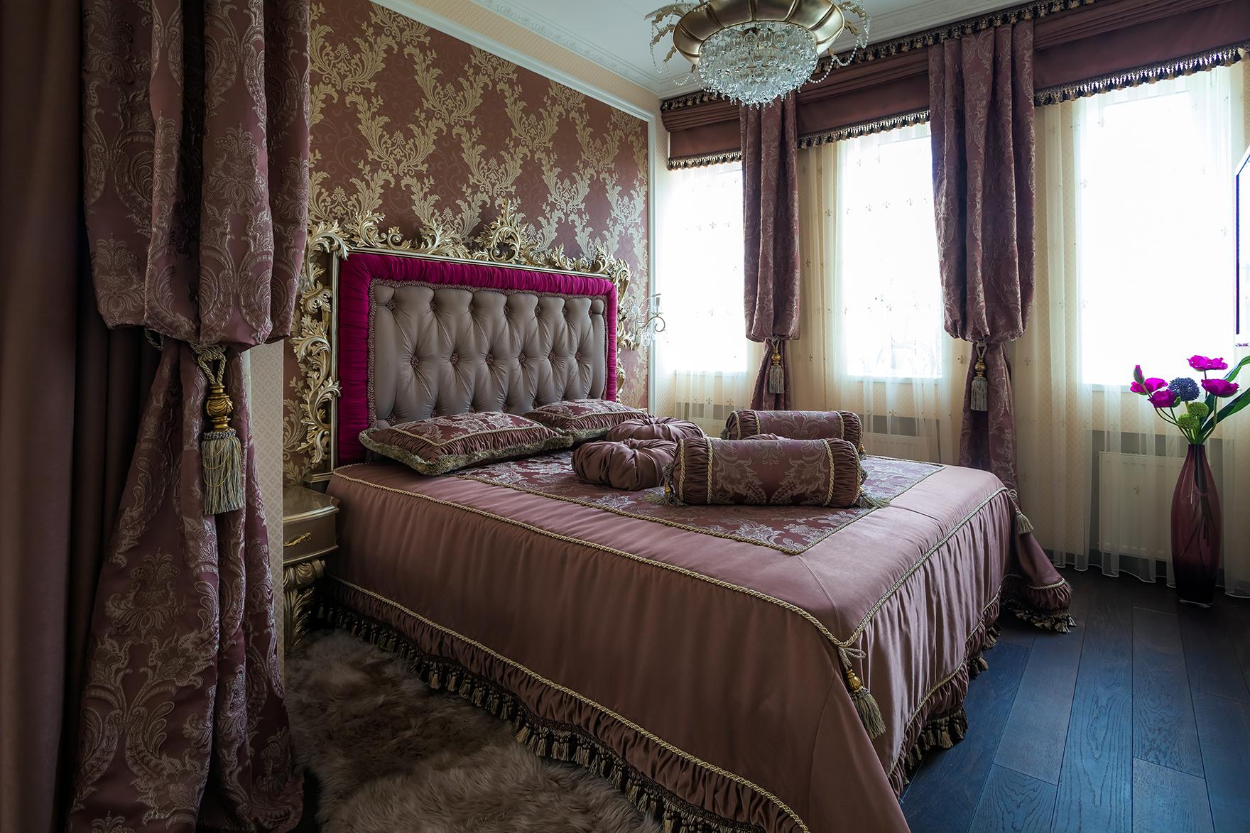 Спальня в спокойных тонах в стиле фьюжн