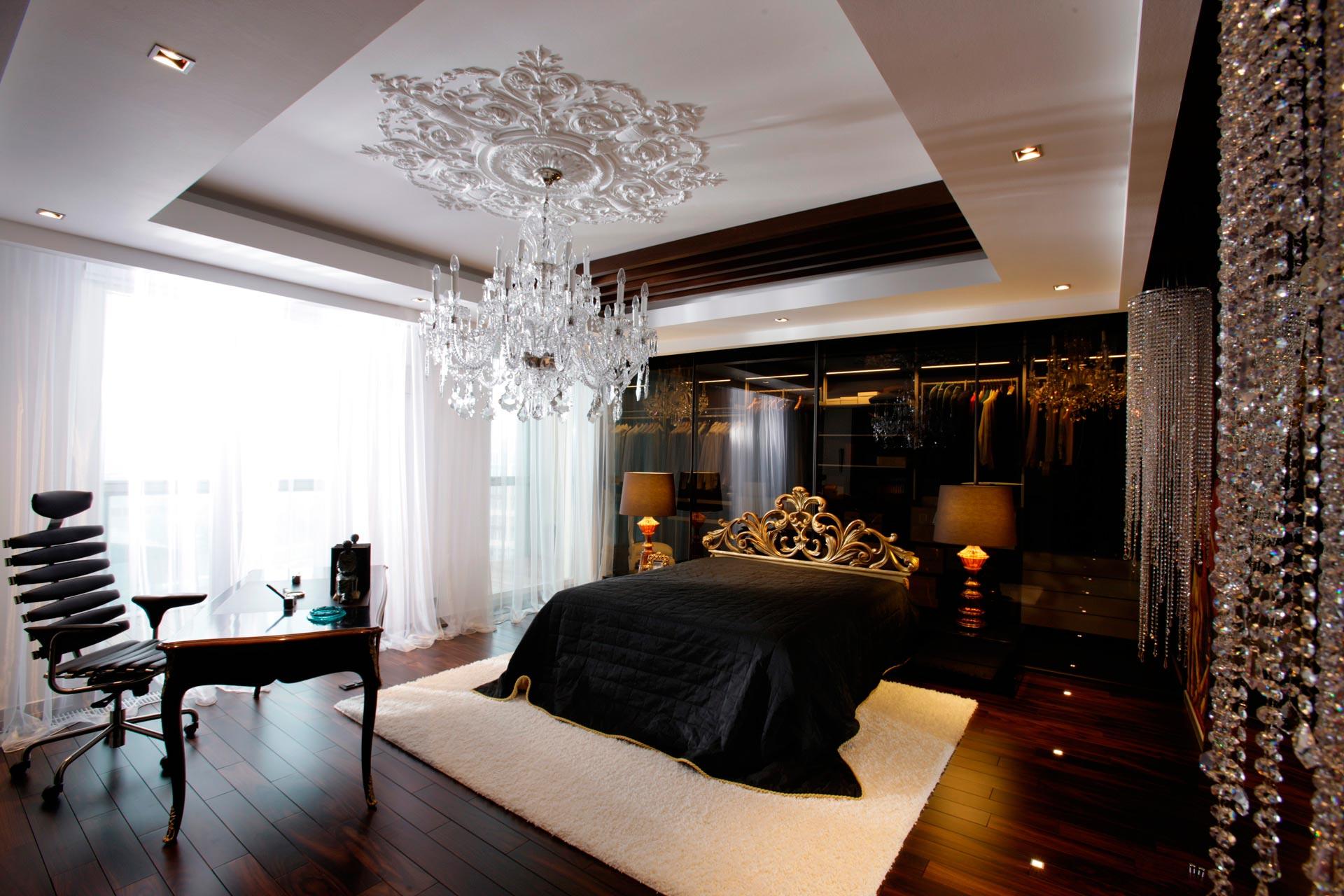 Контрастная спальня в стиле фьюжн