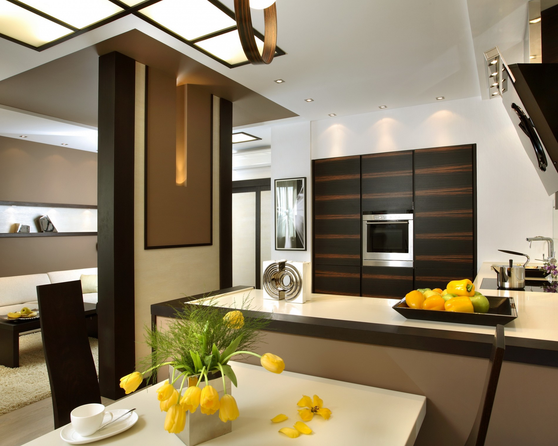 Небольшая кухня в квартире-студии в стиле фьюжн