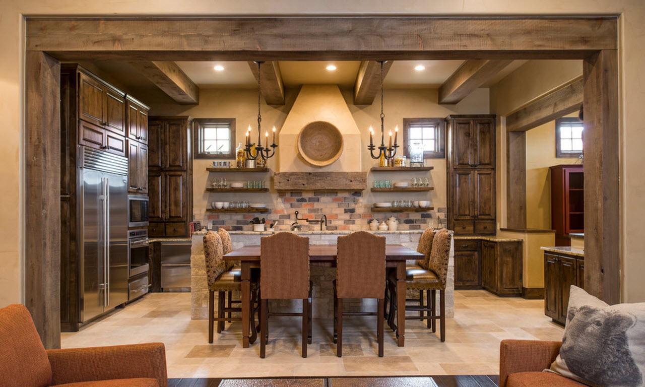 Люстры и точечные светильники в интерьере кухни в стиле кантри