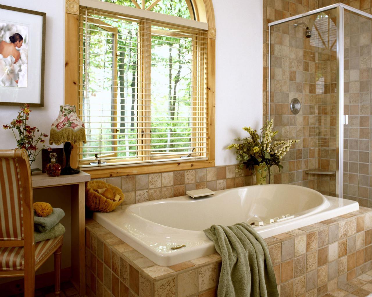 Уютная ванная комната в стиле кантри
