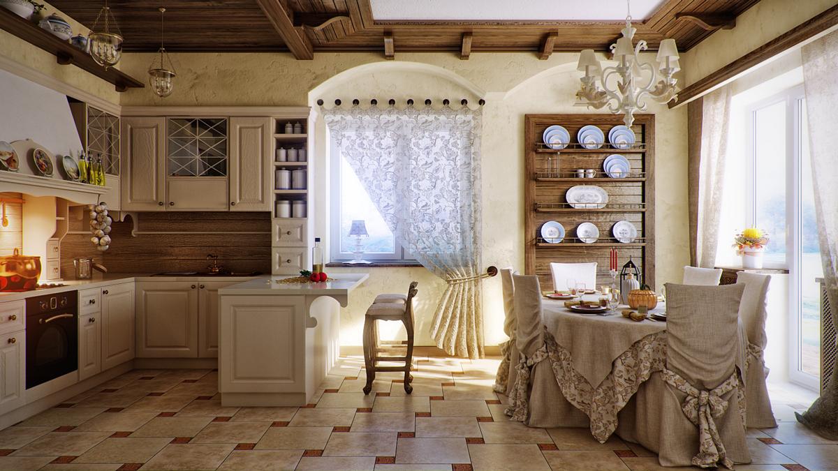 Ажурный тюль в интерьере кухни в стиле кантри