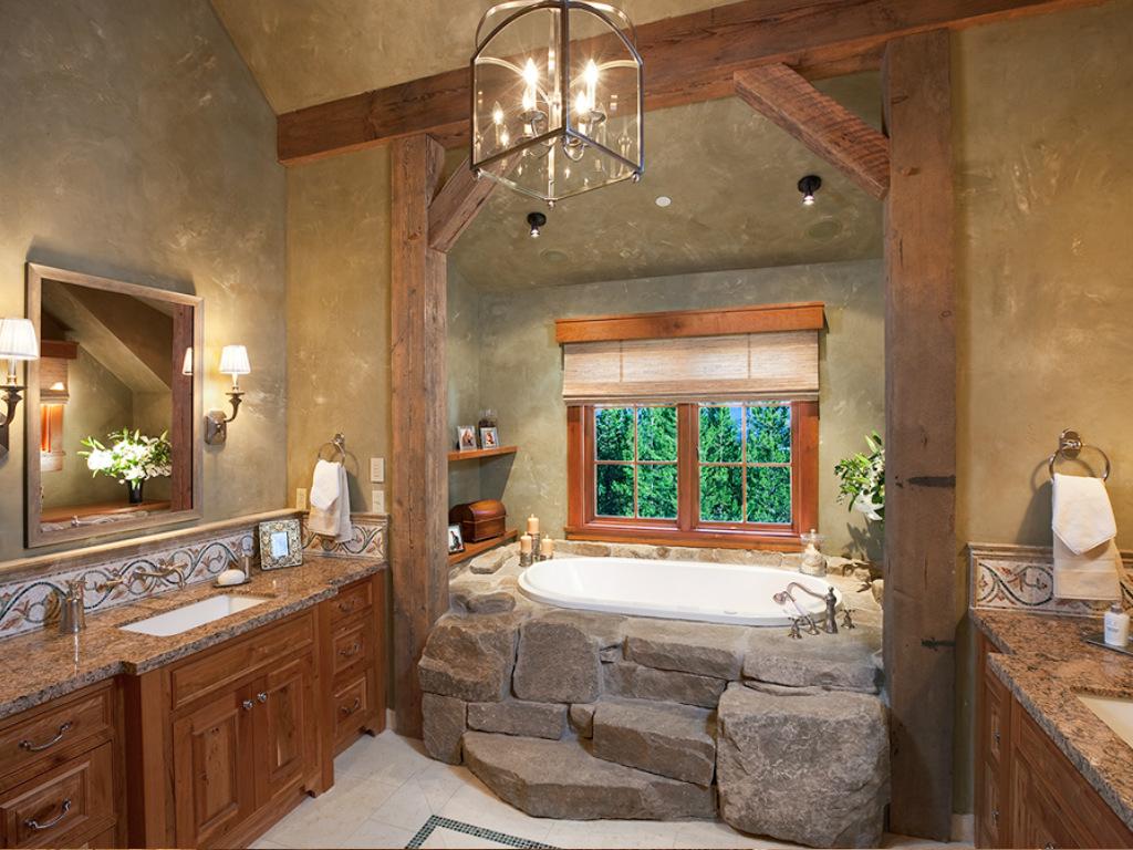 Необычный декор ванной в стиле кантри