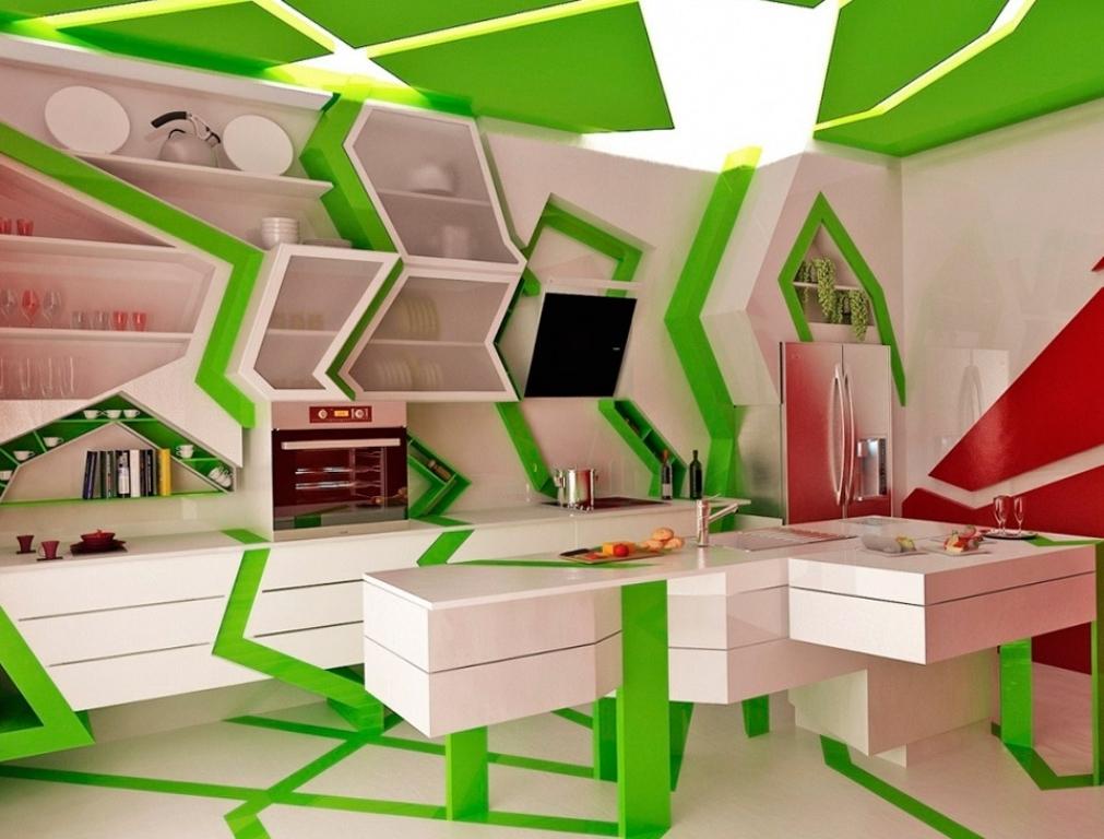 Белый, зеленый и красный цвета в интерьере кухни в стиле китч