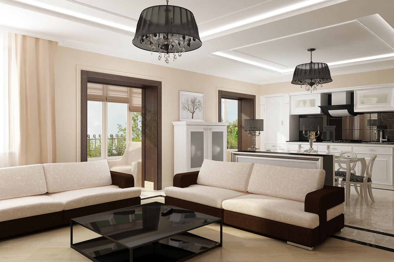 Коричнево-бежевая мебель в квартире в стиле модерн