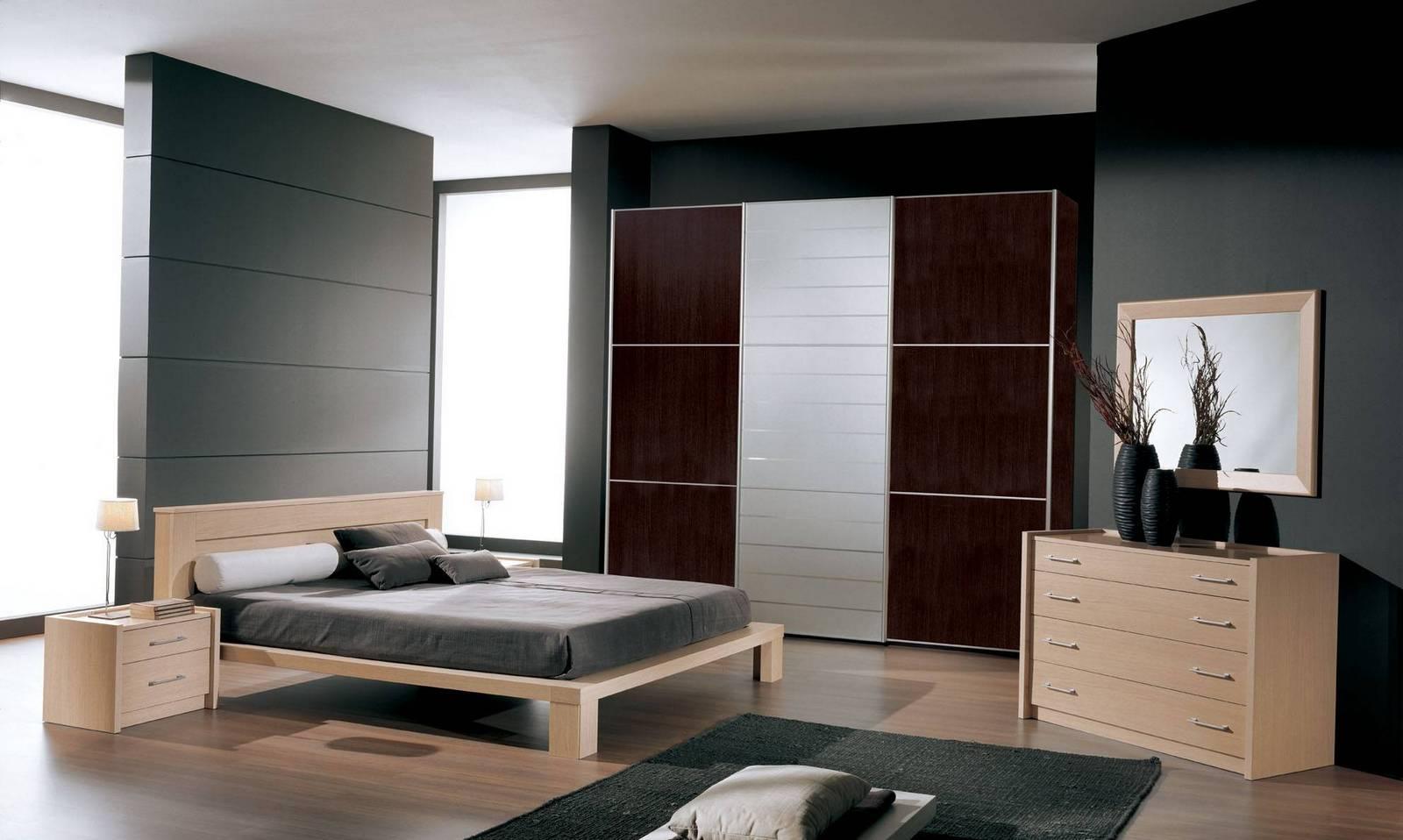 Бежево-коричневая современная спальня в стиле модерн