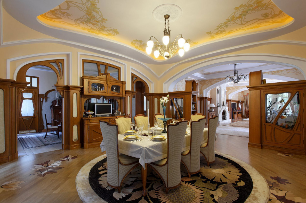 Большая классическая столовая в стиле модерн
