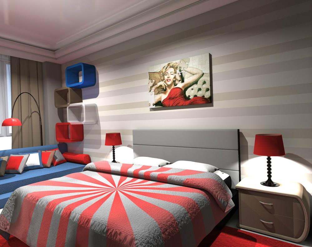 Освещение в спальне в стиле поп-арт