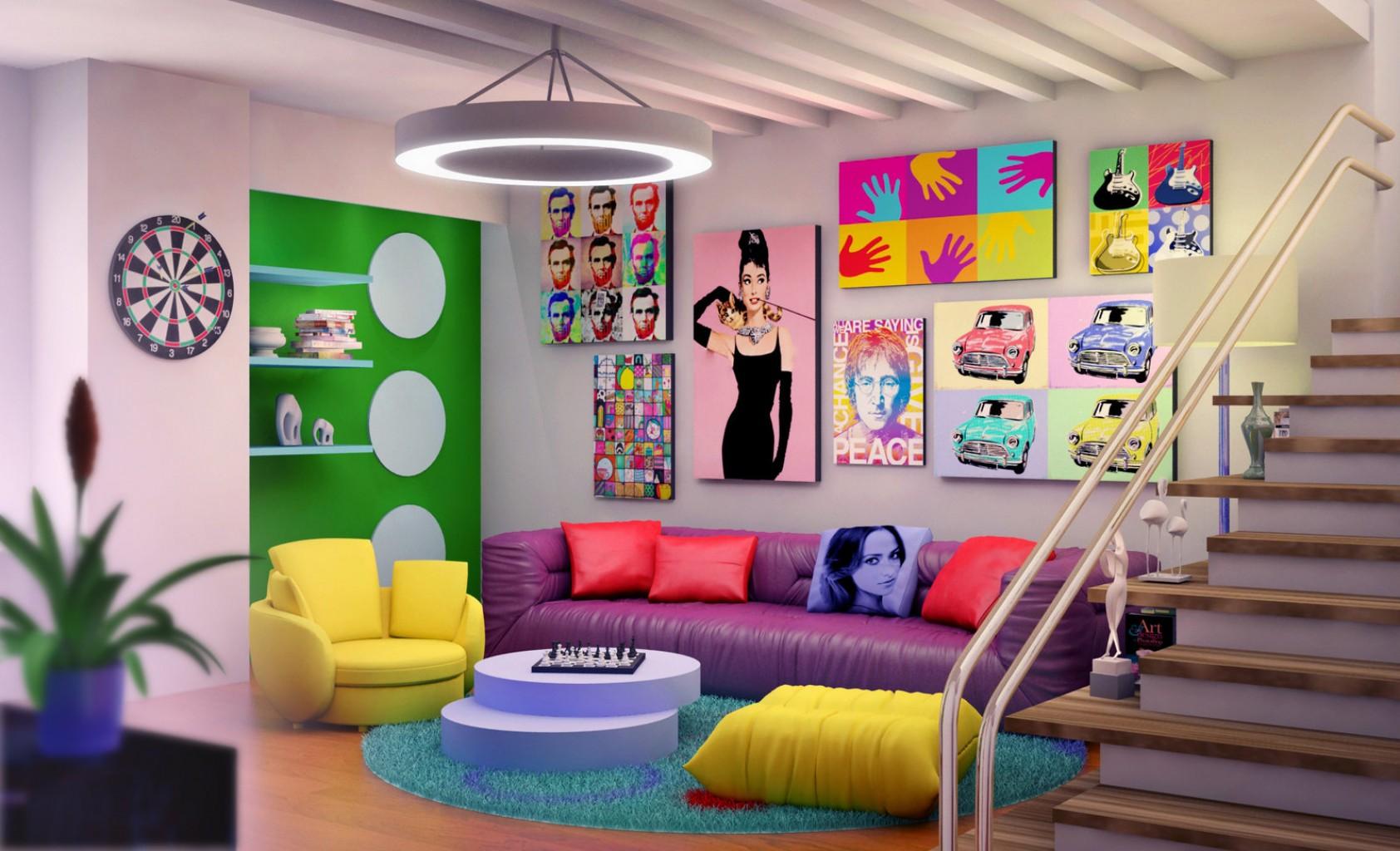 Украшение гостиной в стиле поп-арт