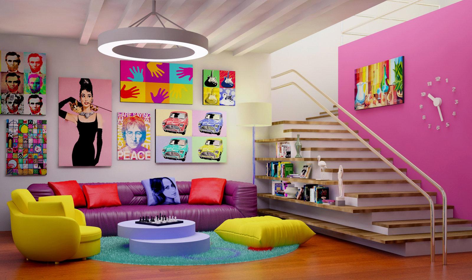 Интерьер гостиной в стиле поп-арт