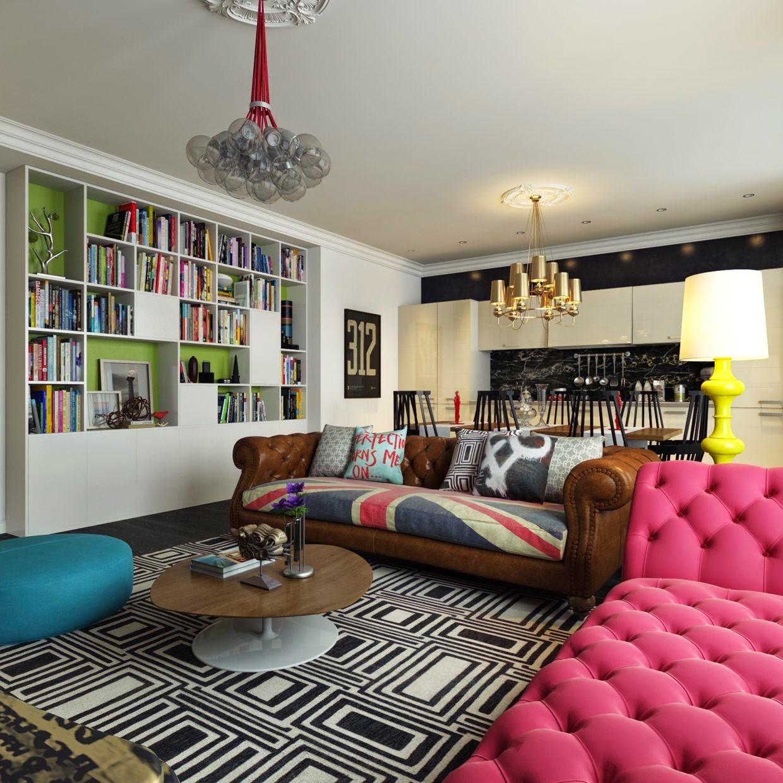 Уютная гостиная-кухня в стиле поп-арт