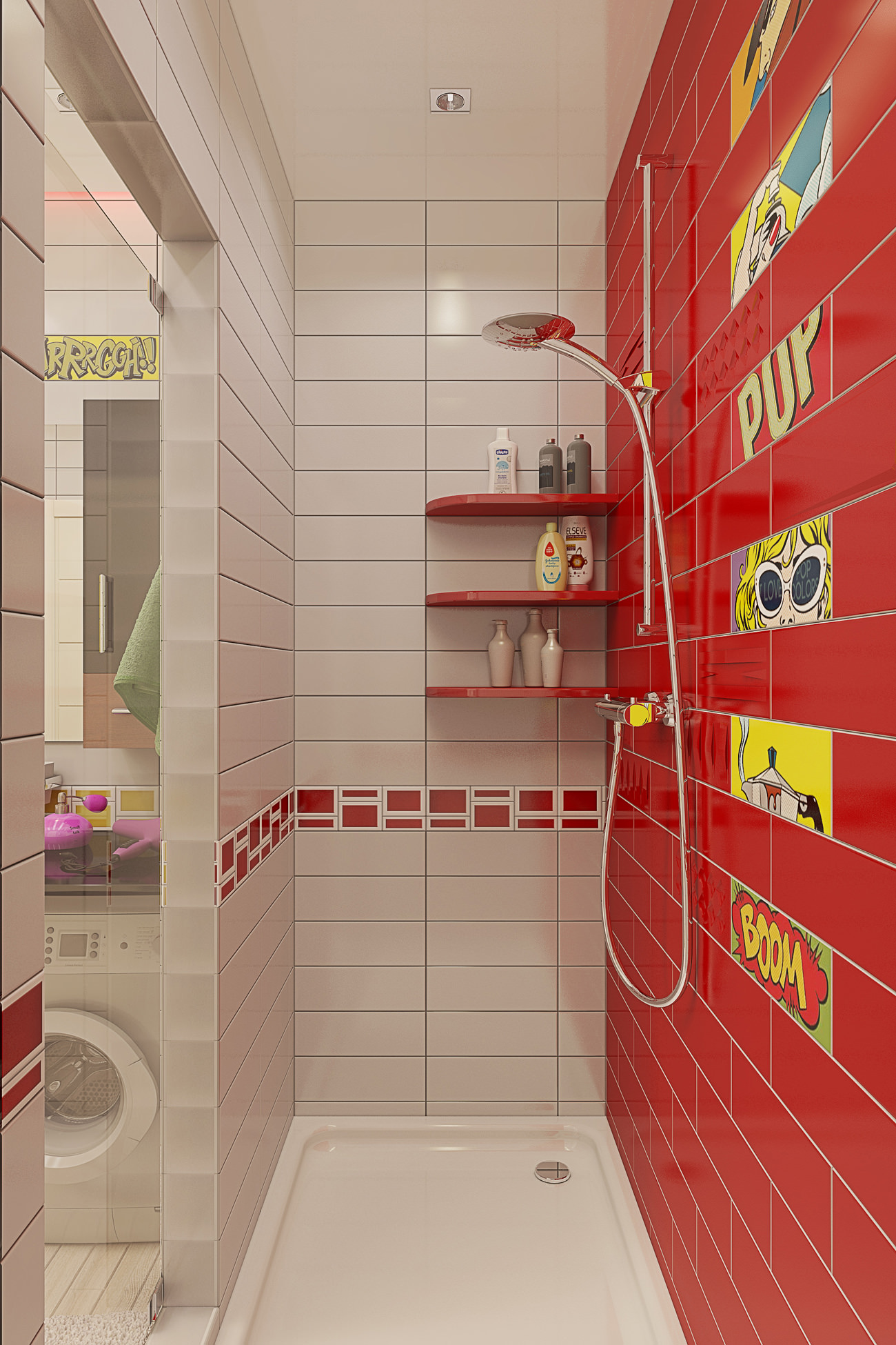 Красно-белая ванная комната в стиле поп-арт