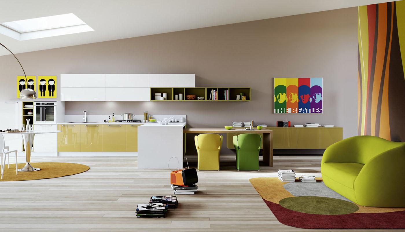 Большая гостиная-кухня в стиле поп-арт