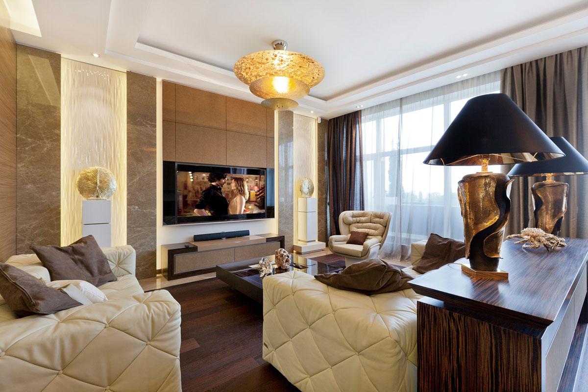 Бежево-коричневая гостиная в стиле арт-деко