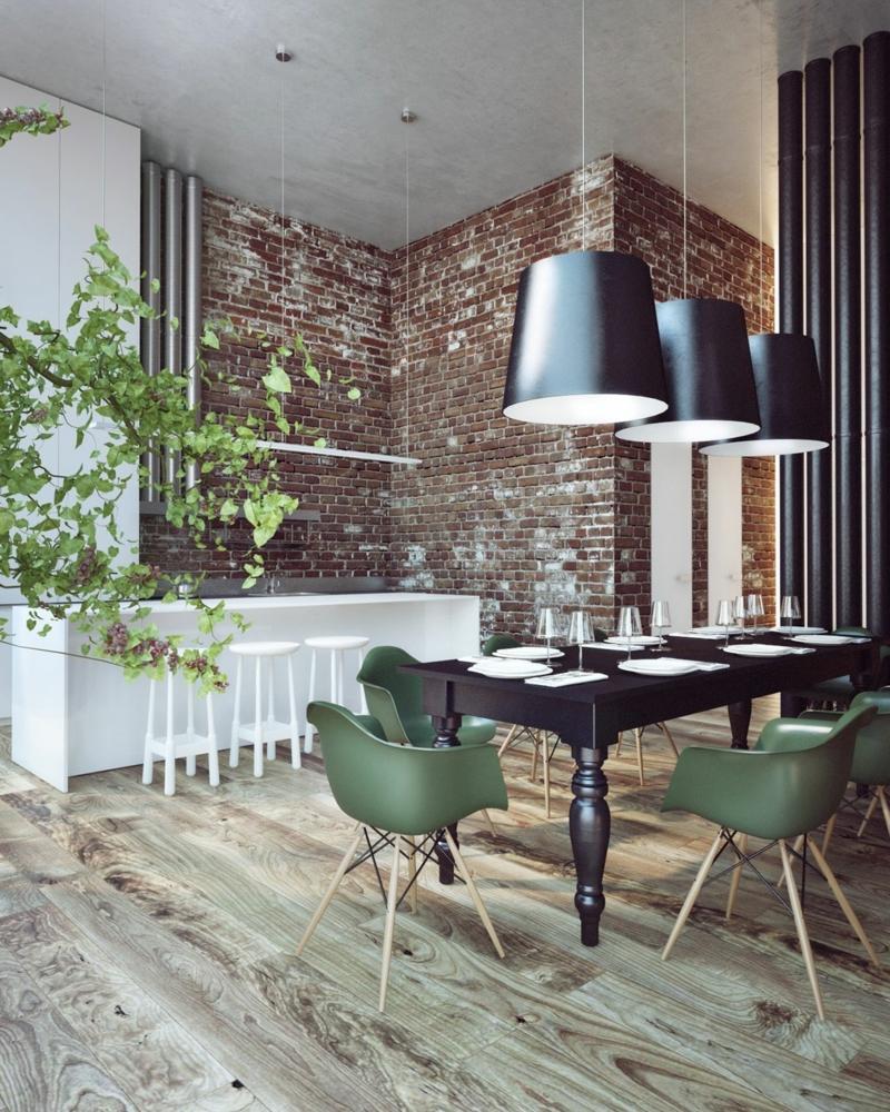 Оливковые стулья на кухне