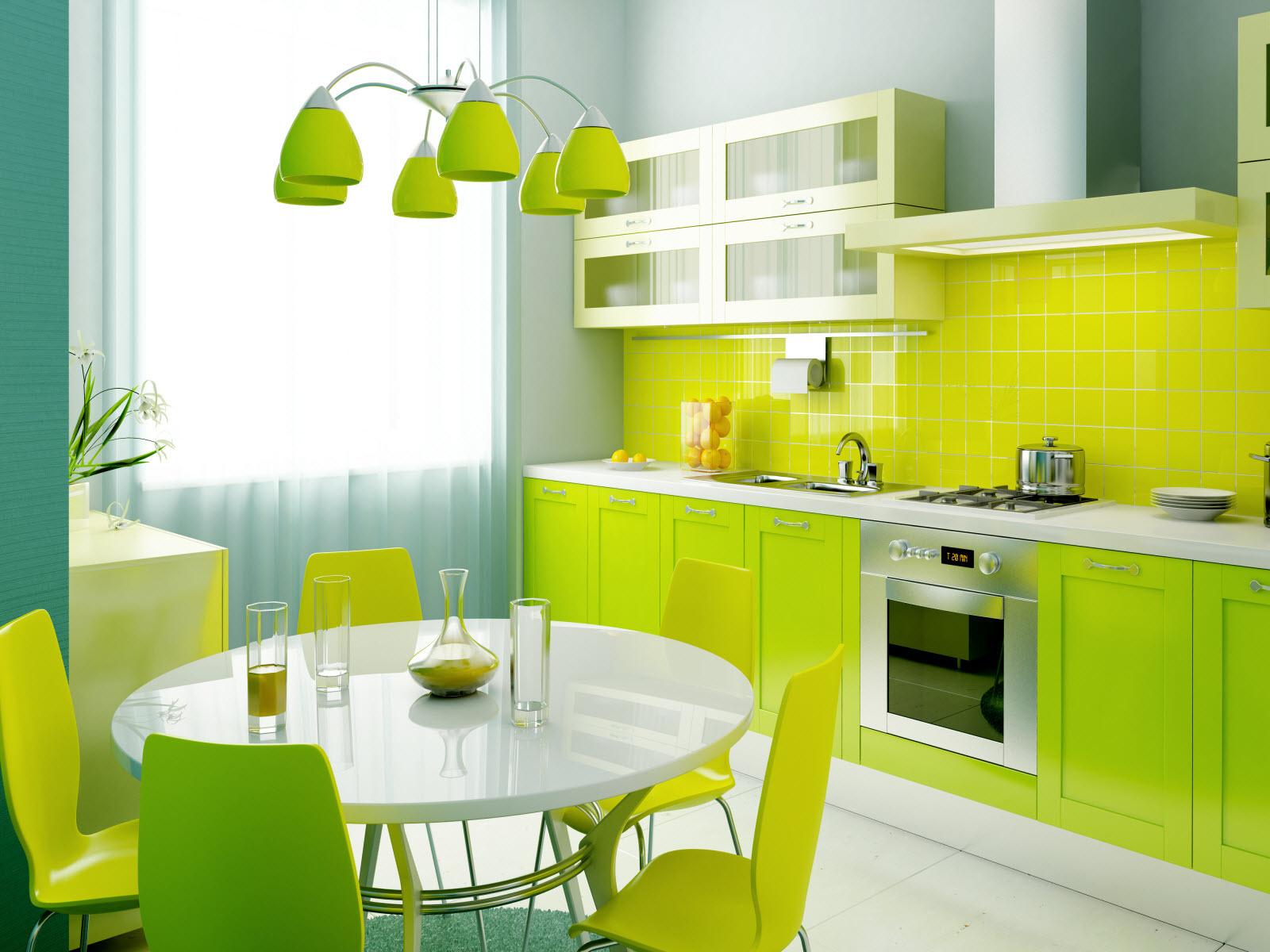 Салатовые стулья на кухне