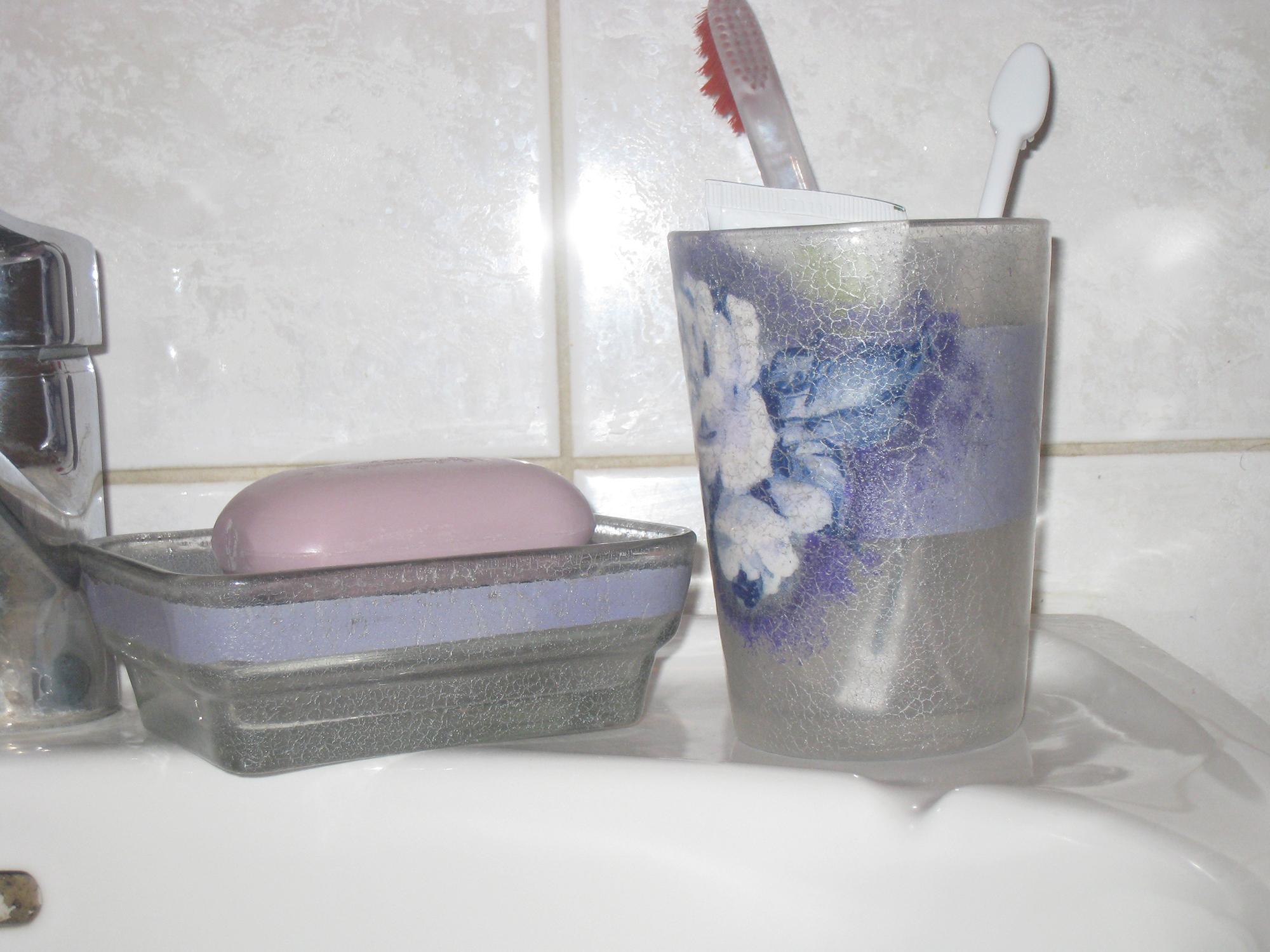 Аксессуары для ванной в технике декупаж