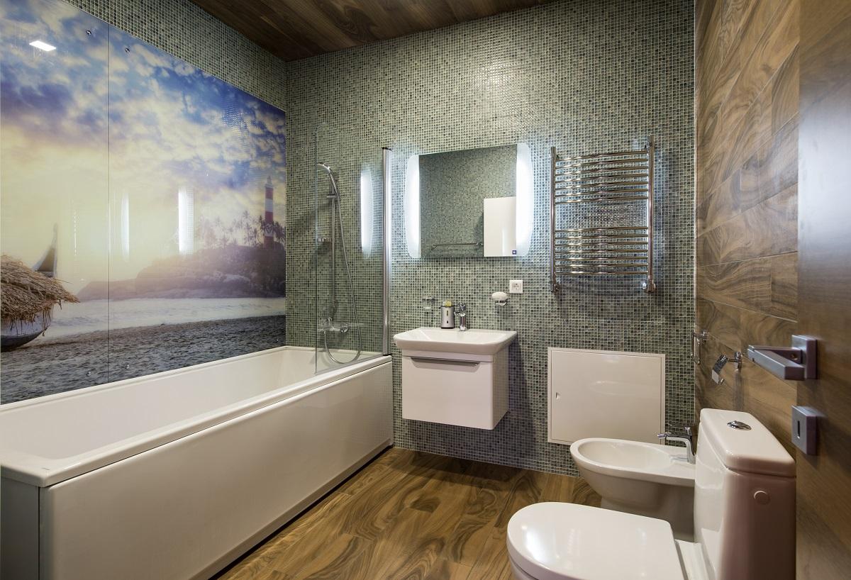Подсветка зеркала в ванной в стиле модерн
